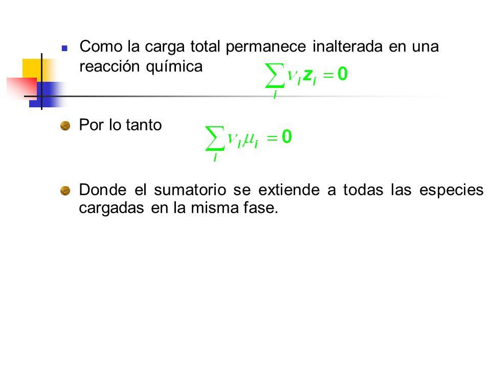 Como la carga total permanece inalterada en una reacción química