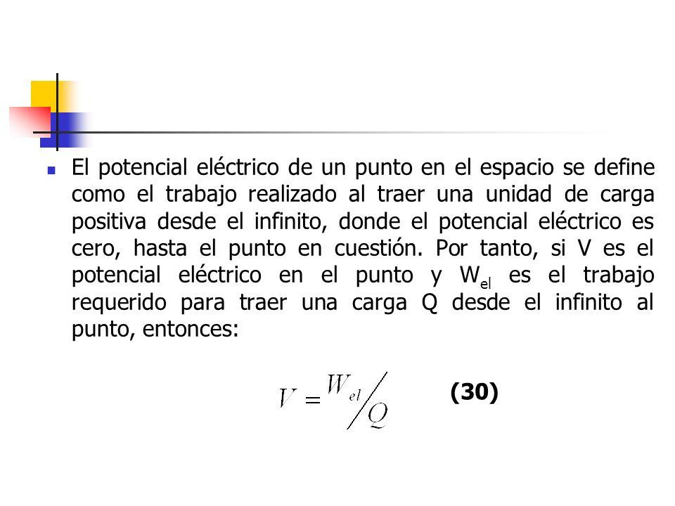 El potencial eléctrico de un punto en el espacio se define como el trabajo realizado al traer una unidad de carga positiva desde el infinito, donde el potencial eléctrico es cero, hasta el punto en cuestión. Por tanto, si V es el potencial eléctrico en el punto y Wel es el trabajo requerido para traer una carga Q desde el infinito al punto, entonces: