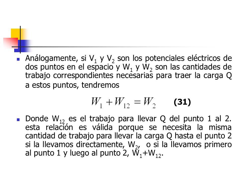 Análogamente, si V1 y V2 son los potenciales eléctricos de dos puntos en el espacio y W1 y W2 son las cantidades de trabajo correspondientes necesarias para traer la carga Q a estos puntos, tendremos