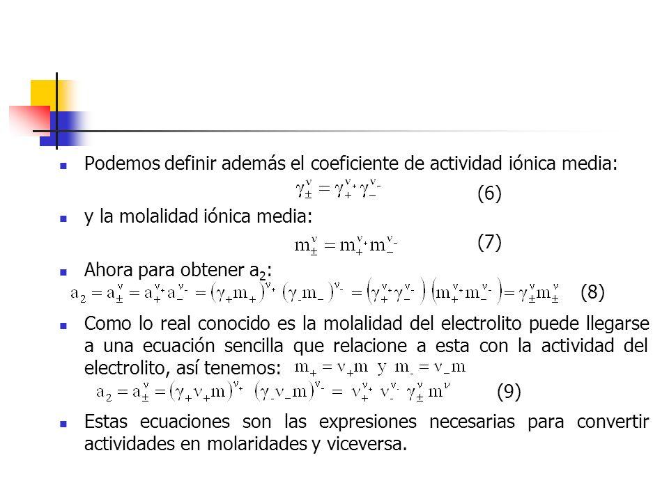 Podemos definir además el coeficiente de actividad iónica media: