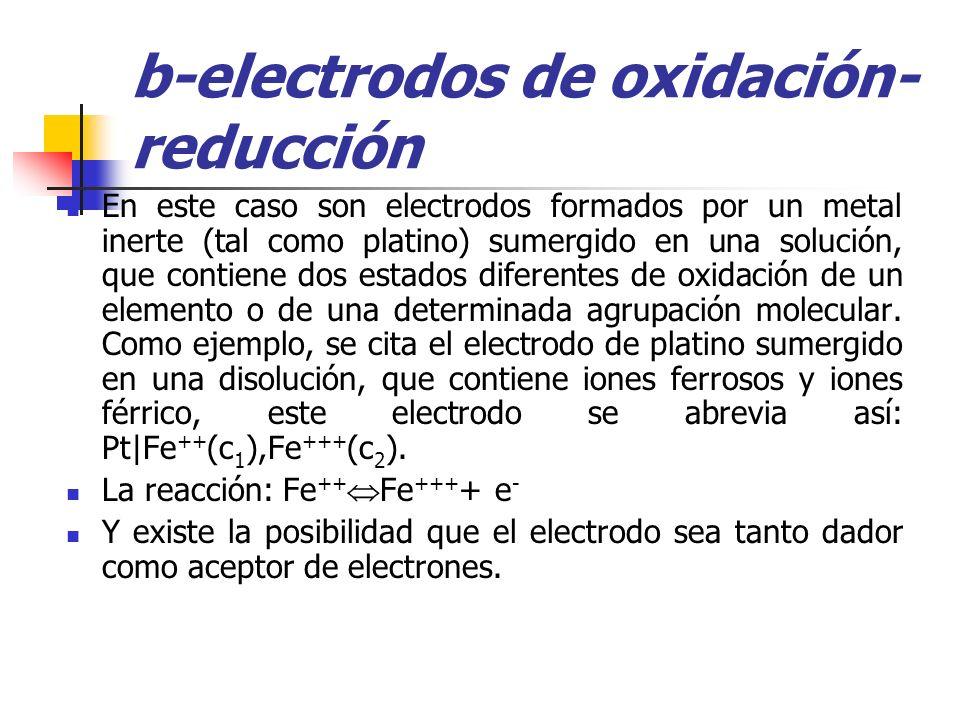 b-electrodos de oxidación- reducción