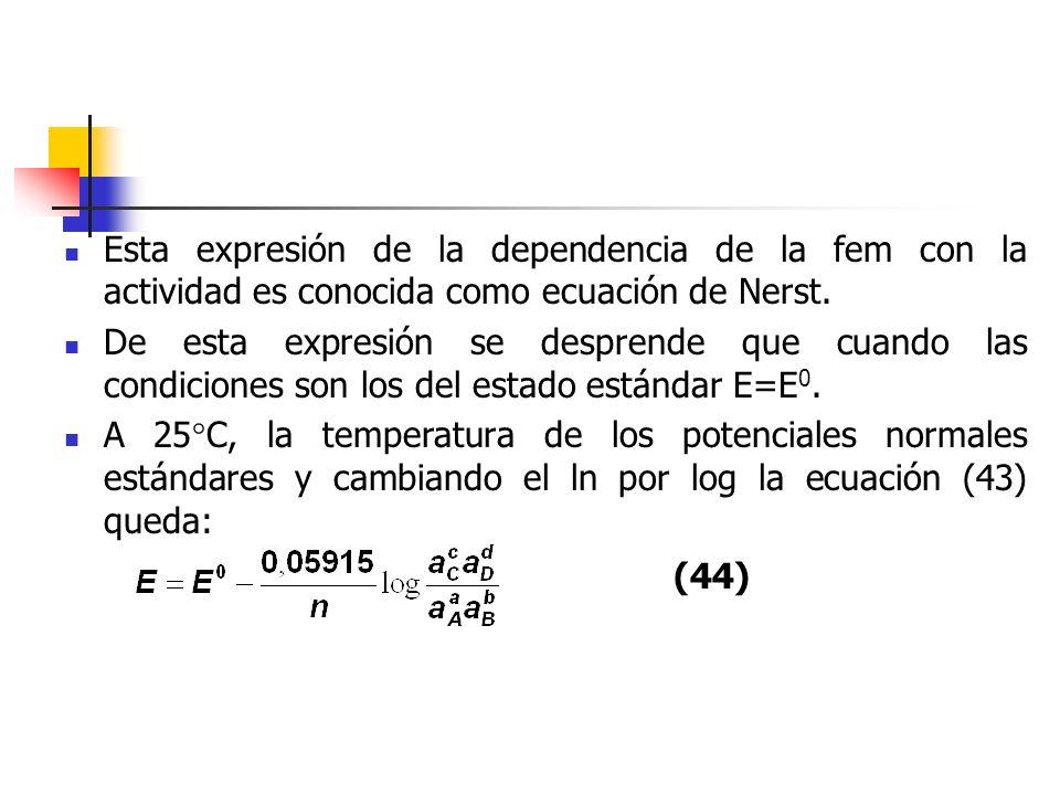 Esta expresión de la dependencia de la fem con la actividad es conocida como ecuación de Nerst.