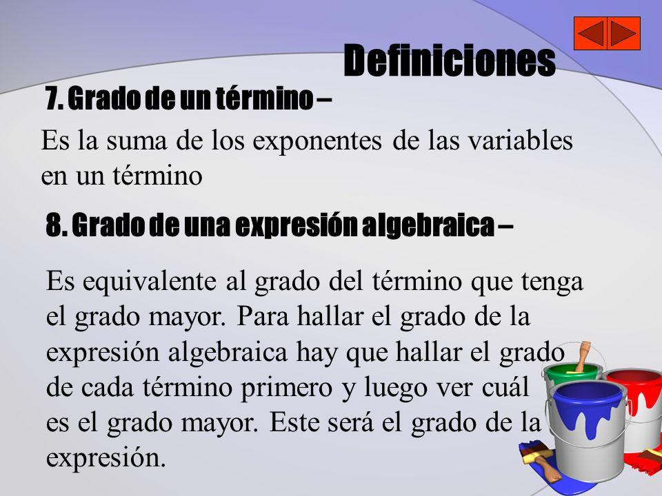 Definiciones 7. Grado de un término –