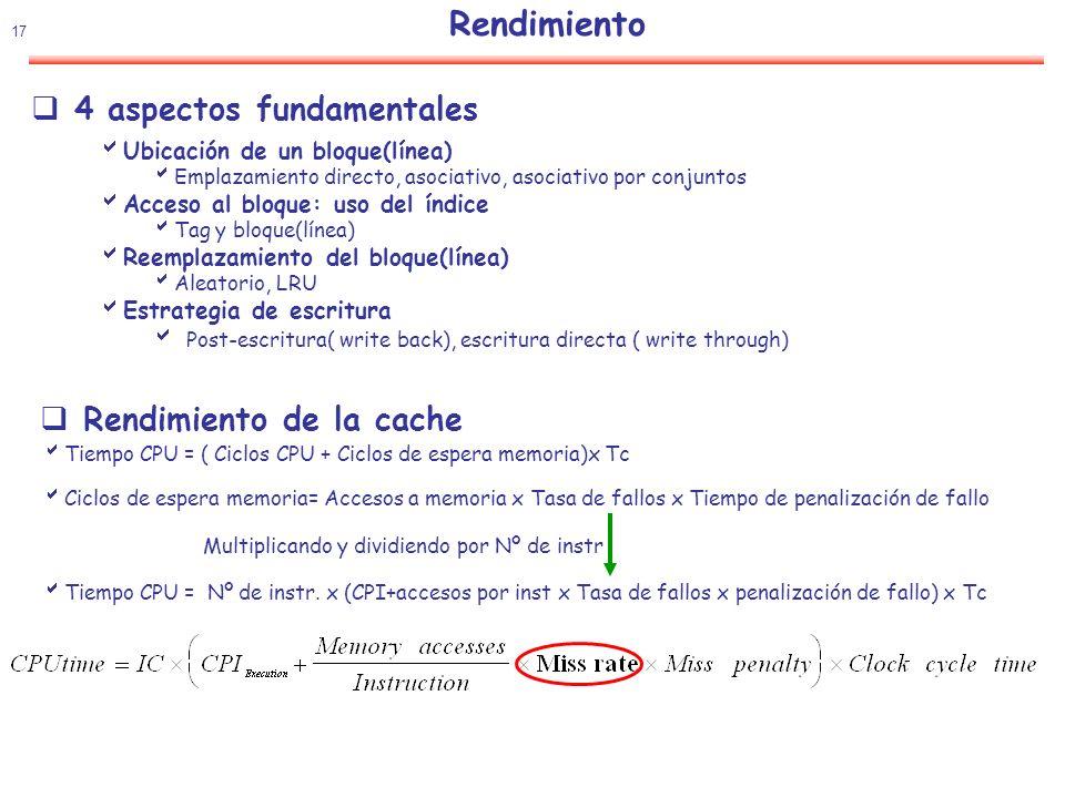 Rendimiento 4 aspectos fundamentales Rendimiento de la cache