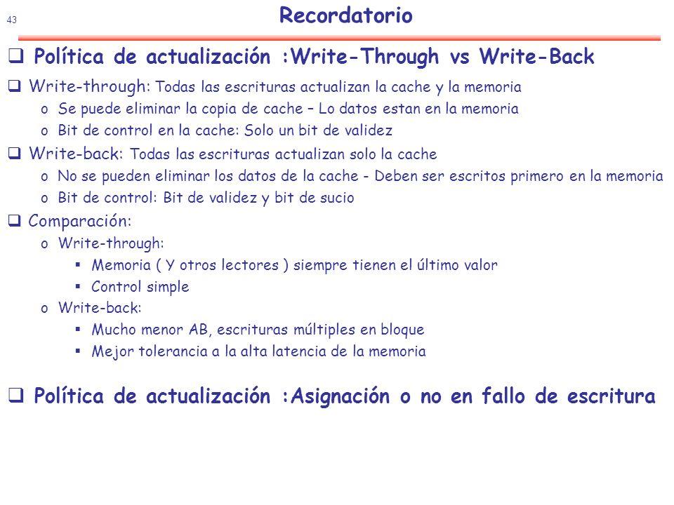 Política de actualización :Write-Through vs Write-Back