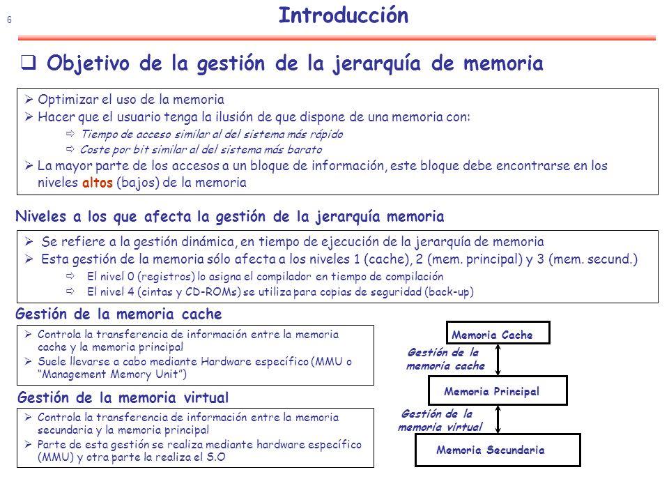 Introducción Objetivo de la gestión de la jerarquía de memoria