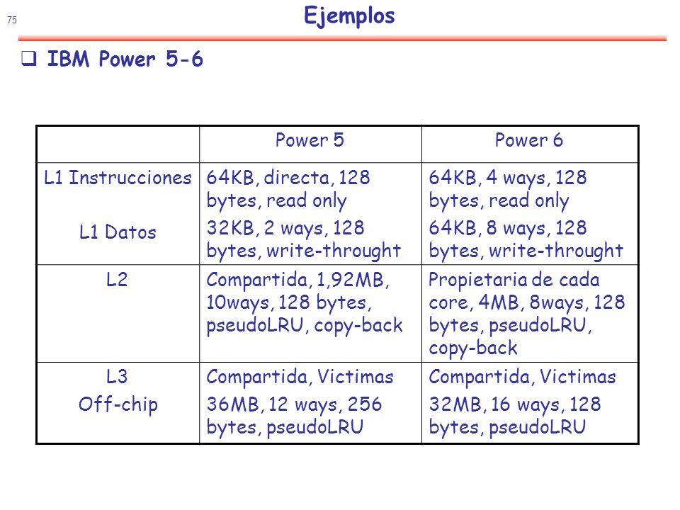 Ejemplos IBM Power 5-6 Power 5 Power 6 L1 Instrucciones L1 Datos