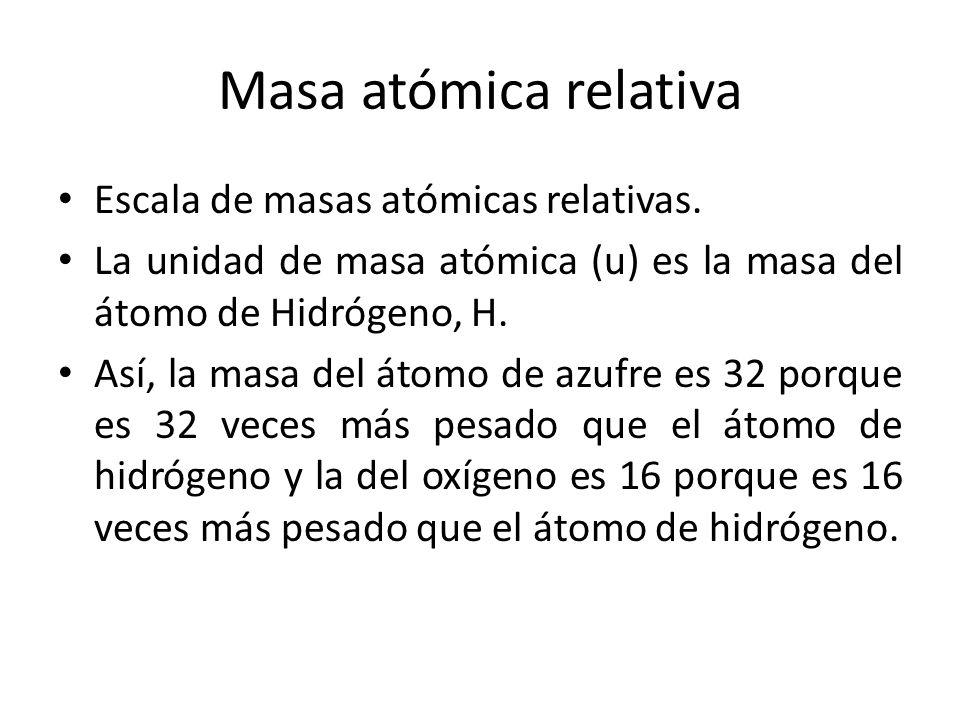 Masa atómica relativa Escala de masas atómicas relativas.