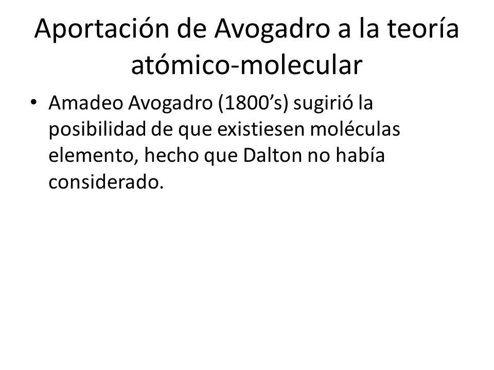 Aportación de Avogadro a la teoría atómico-molecular