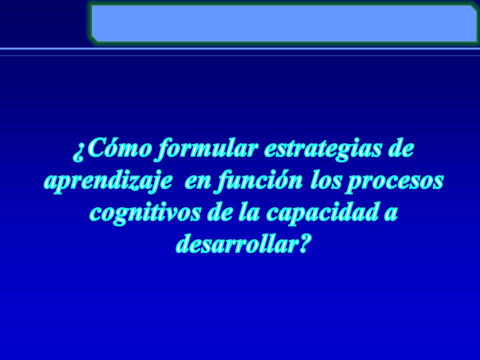 ¿Cómo formular estrategias de aprendizaje en función los procesos cognitivos de la capacidad a desarrollar