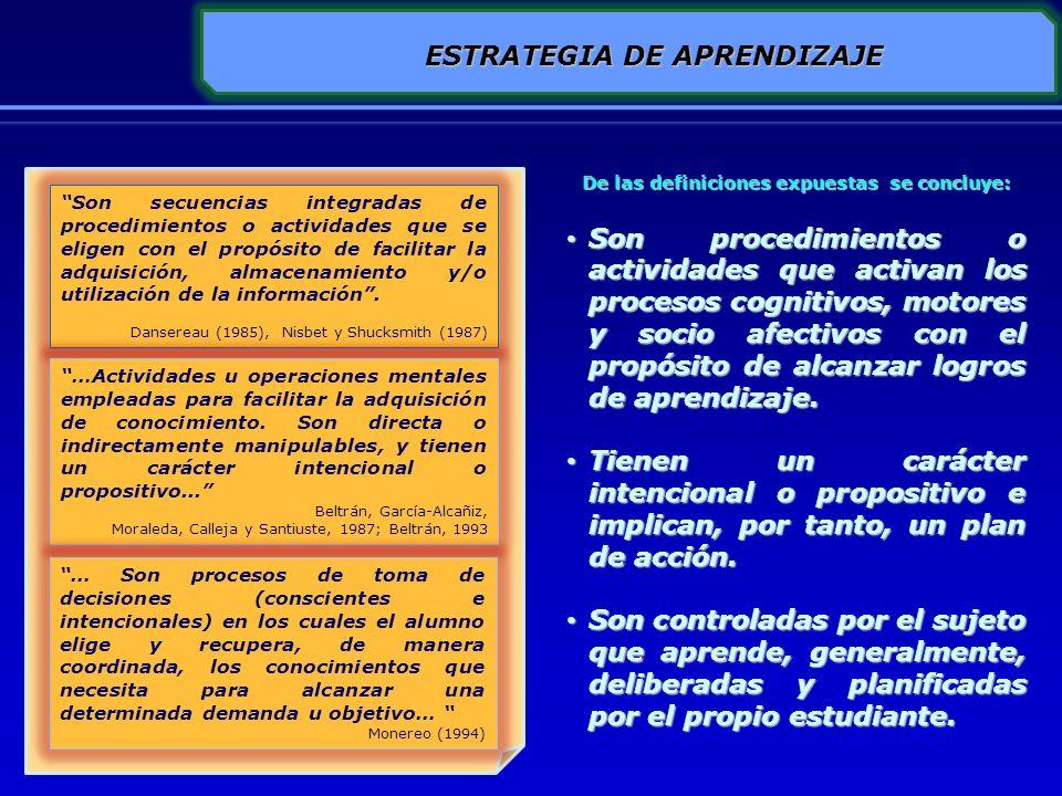 ESTRATEGIA DE APRENDIZAJE De las definiciones expuestas se concluye: