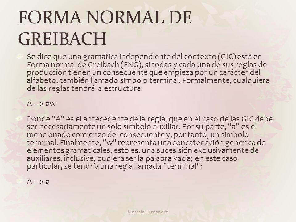 FORMA NORMAL DE GREIBACH