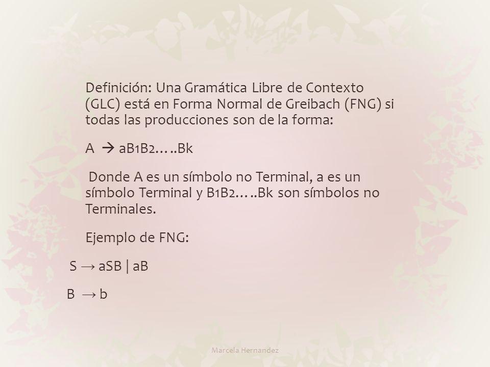 Definición: Una Gramática Libre de Contexto (GLC) está en Forma Normal de Greibach (FNG) si todas las producciones son de la forma: