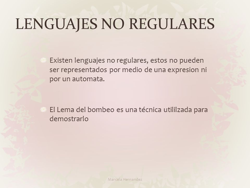 LENGUAJES NO REGULARES
