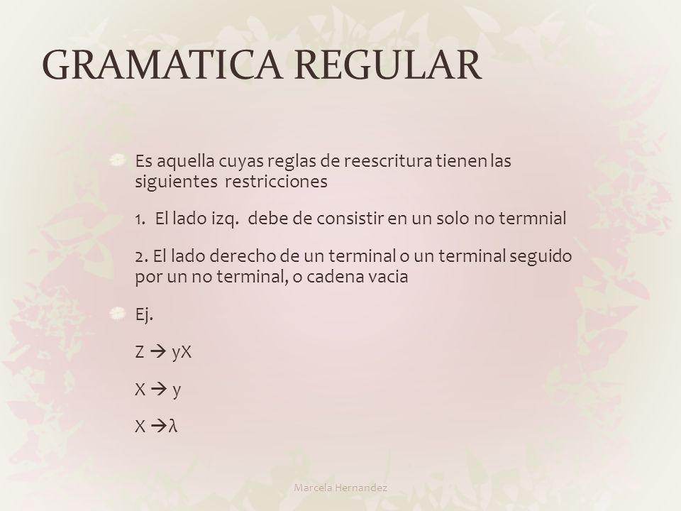 GRAMATICA REGULAR Es aquella cuyas reglas de reescritura tienen las siguientes restricciones.