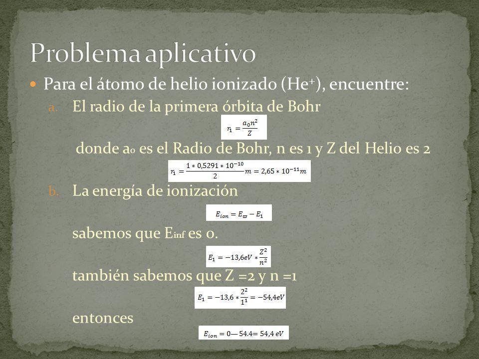 Problema aplicativo Para el átomo de helio ionizado (He+), encuentre: