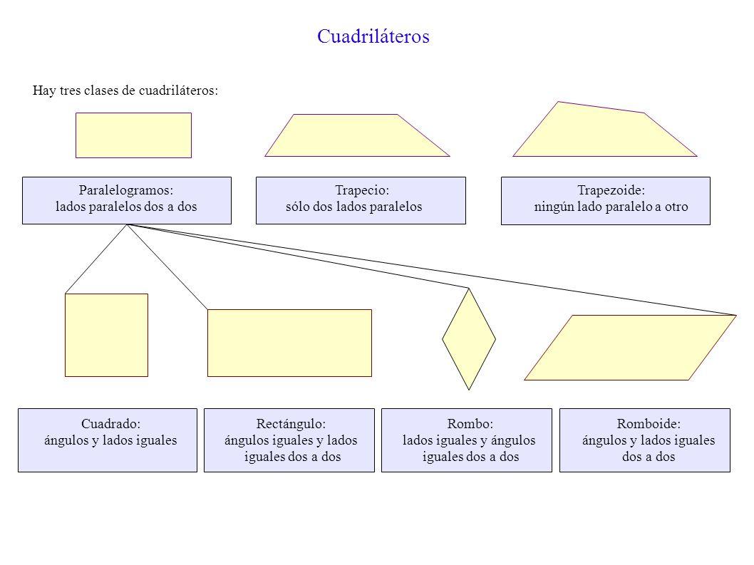 Cuadriláteros Hay tres clases de cuadriláteros: Paralelogramos: