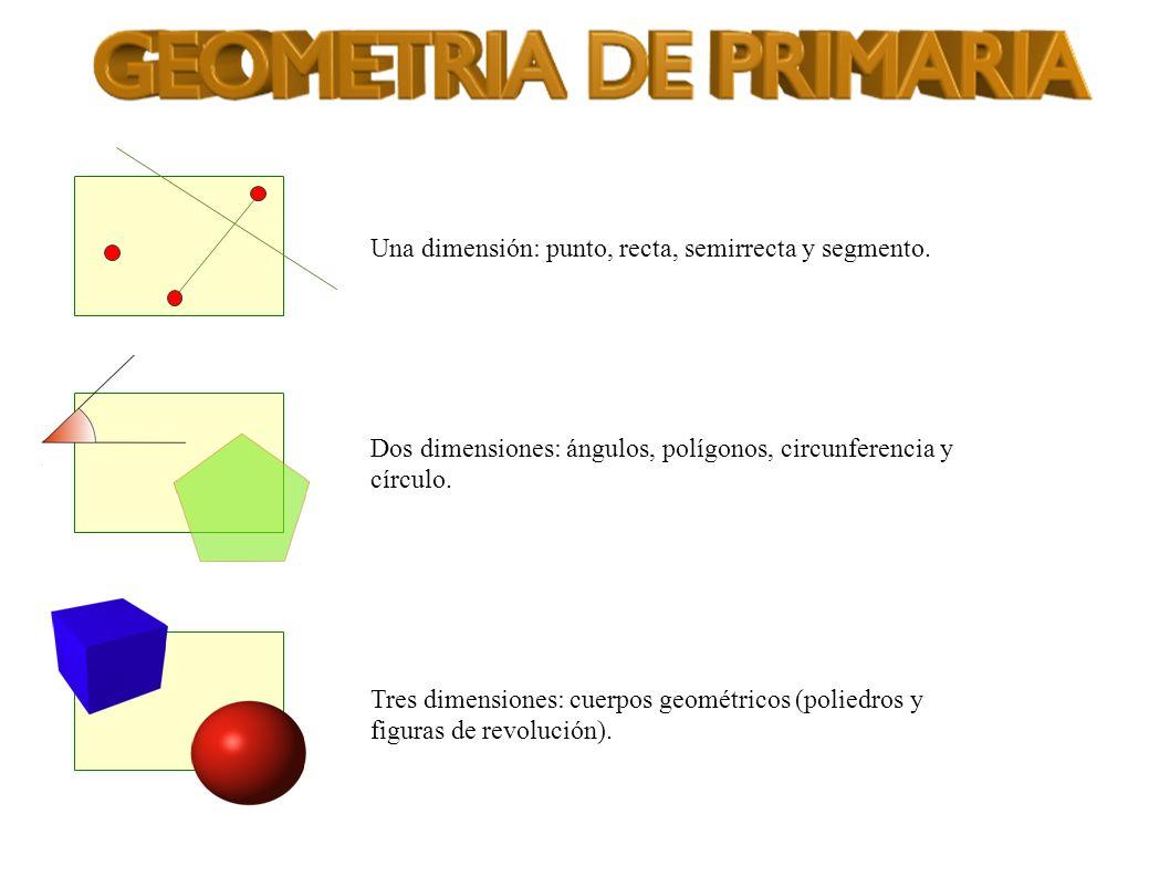 Una dimensión: punto, recta, semirrecta y segmento.