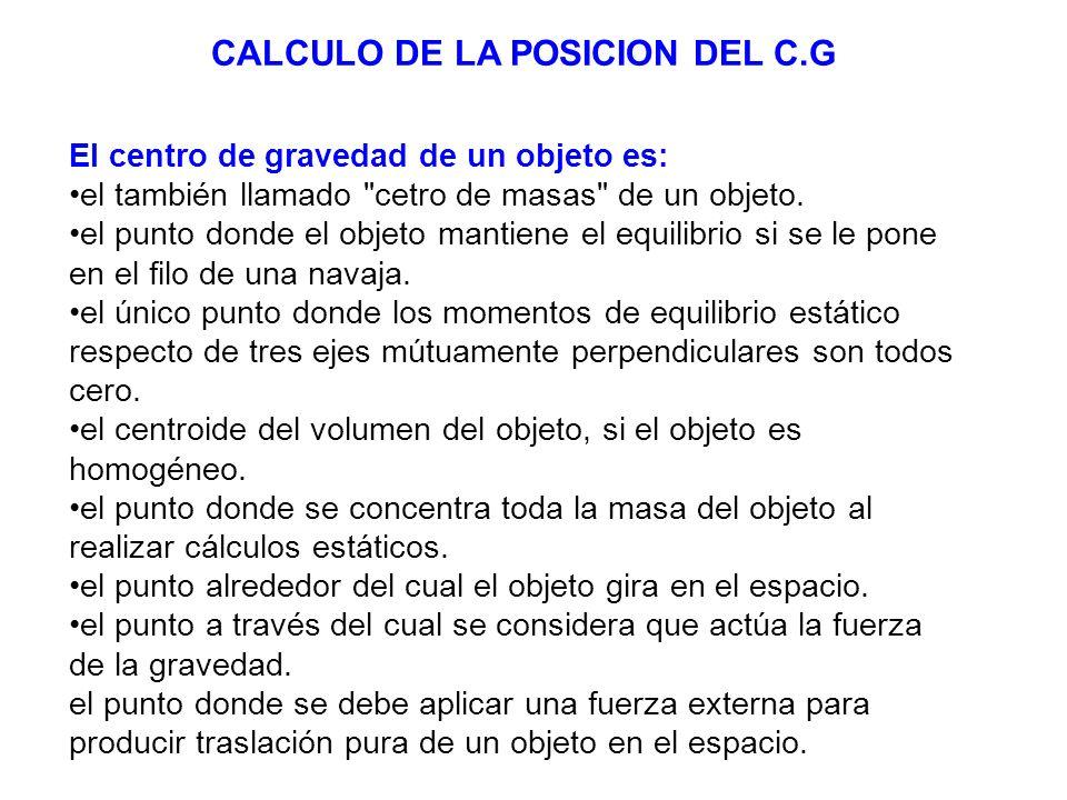 CALCULO DE LA POSICION DEL C.G