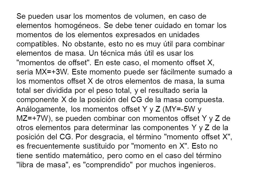 Se pueden usar los momentos de volumen, en caso de elementos homogéneos.