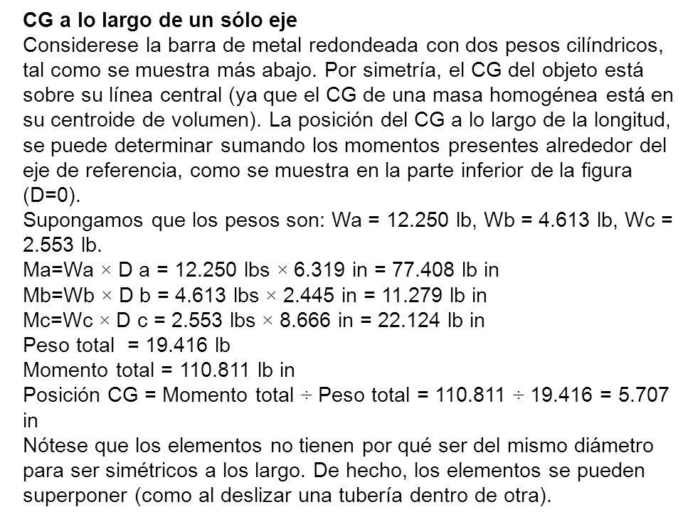 CG a lo largo de un sólo eje Considerese la barra de metal redondeada con dos pesos cilíndricos, tal como se muestra más abajo.