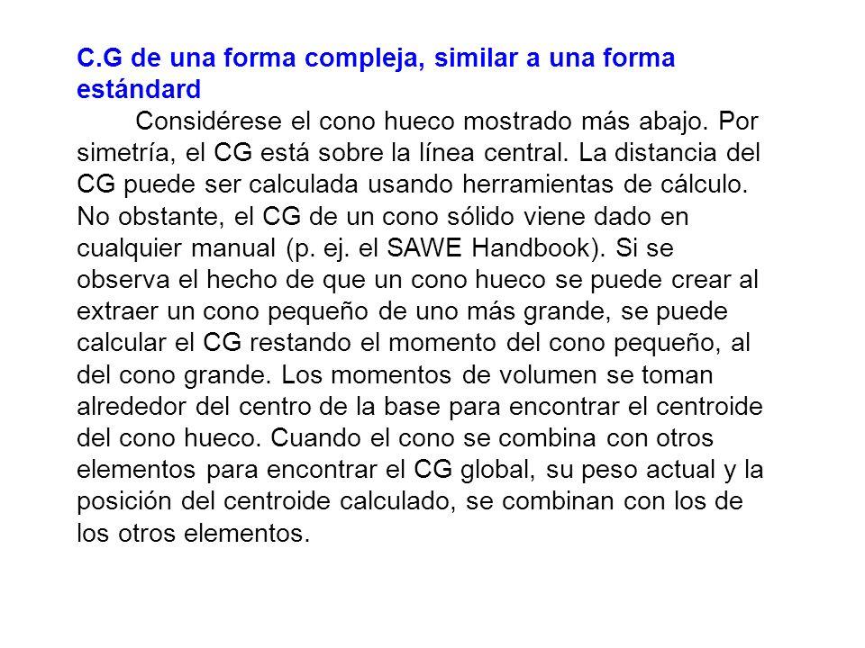 C.G de una forma compleja, similar a una forma estándard Considérese el cono hueco mostrado más abajo.