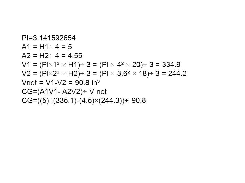 PI=3.141592654 A1 = H1÷ 4 = 5 A2 = H2÷ 4 = 4.55 V1 = (PI×1² × H1)÷ 3 = (PI × 4² × 20)÷ 3 = 334.9 V2 = (PI×2² × H2)÷ 3 = (PI × 3.6² × 18)÷ 3 = 244.2 Vnet = V1-V2 = 90.8 in³ CG=(A1V1- A2V2)÷ V net CG=((5)×(335.1)-(4.5)×(244.3))÷ 90.8
