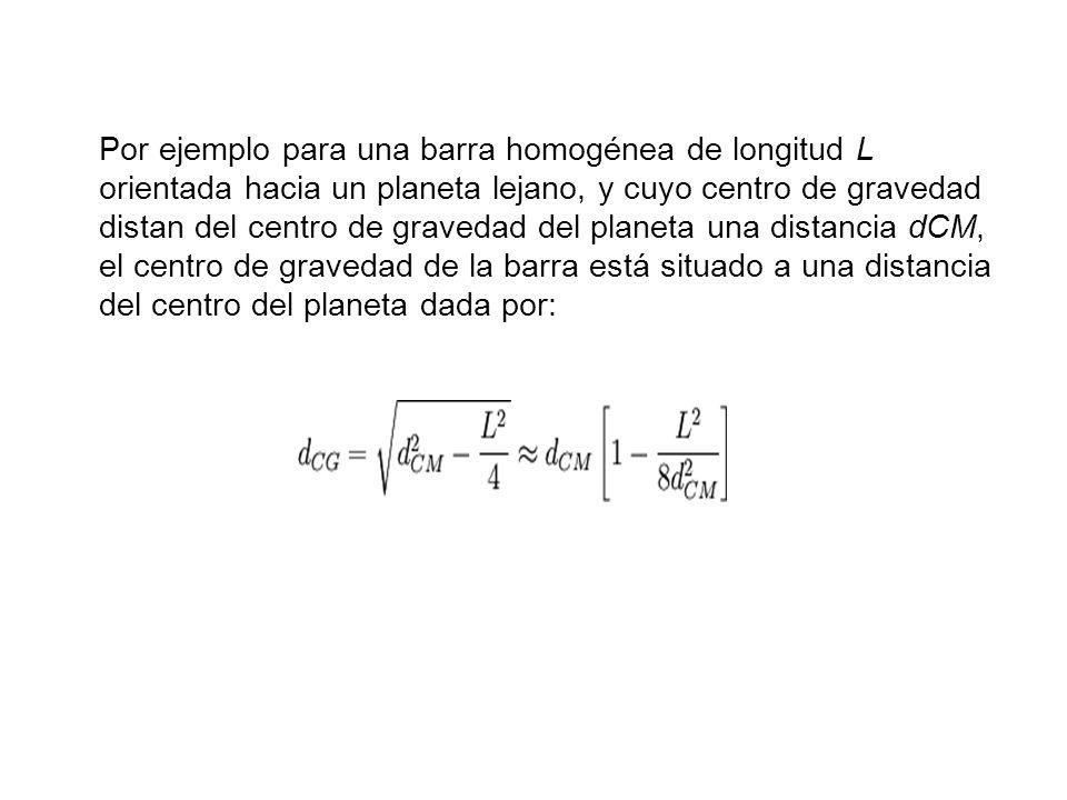 Por ejemplo para una barra homogénea de longitud L orientada hacia un planeta lejano, y cuyo centro de gravedad distan del centro de gravedad del planeta una distancia dCM, el centro de gravedad de la barra está situado a una distancia del centro del planeta dada por: