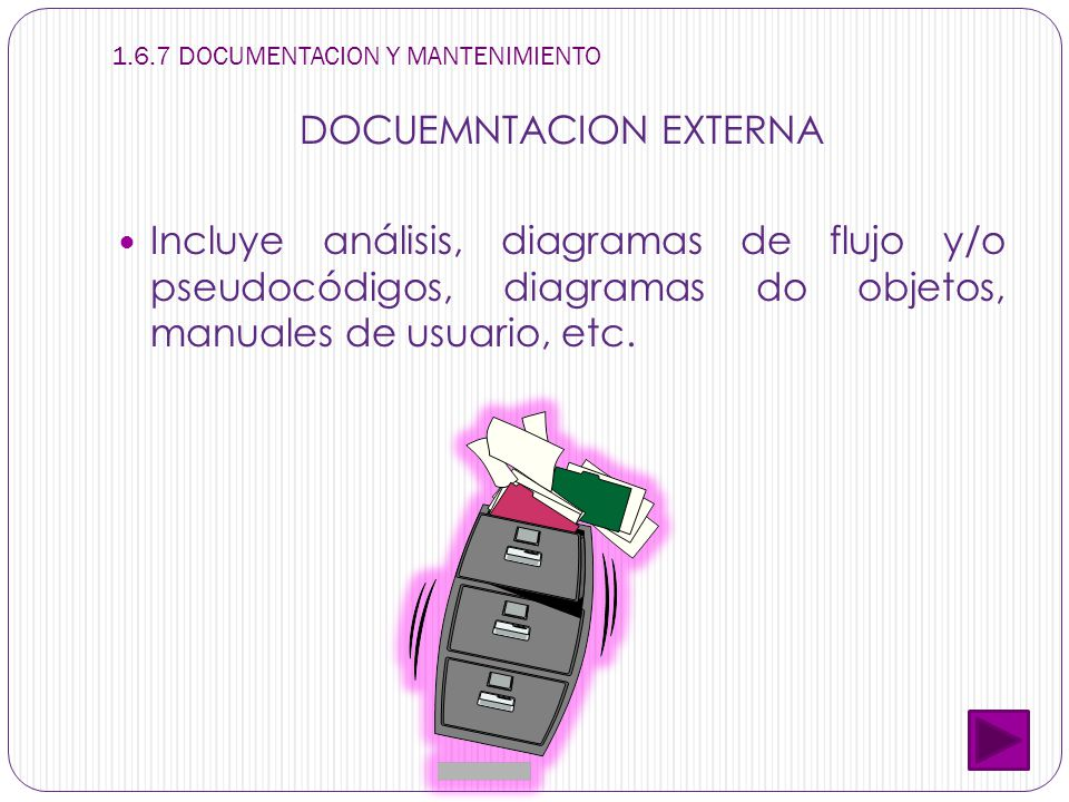 1.6.7 DOCUMENTACION Y MANTENIMIENTO