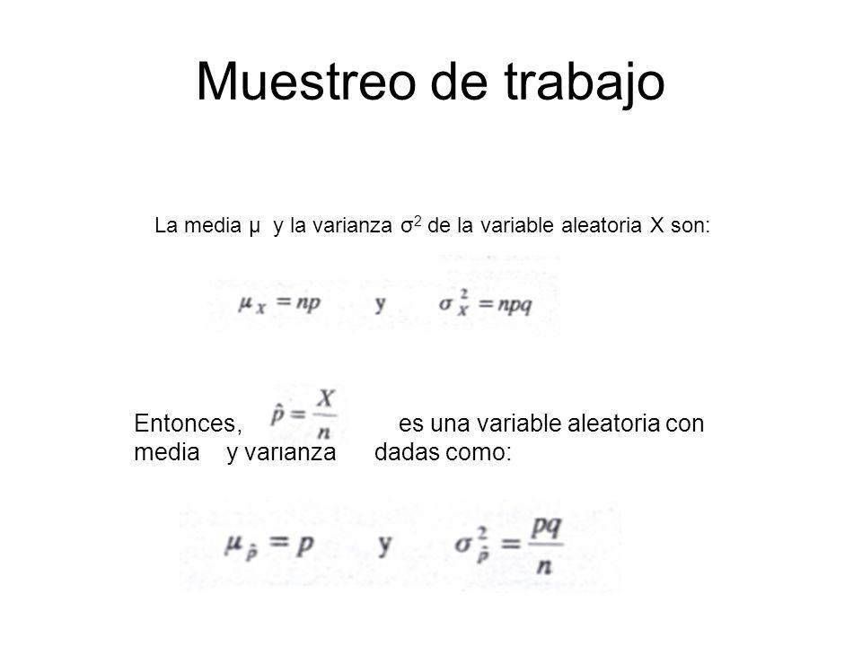 Muestreo de trabajoLa media μ y la varianza σ2 de la variable aleatoria X son: