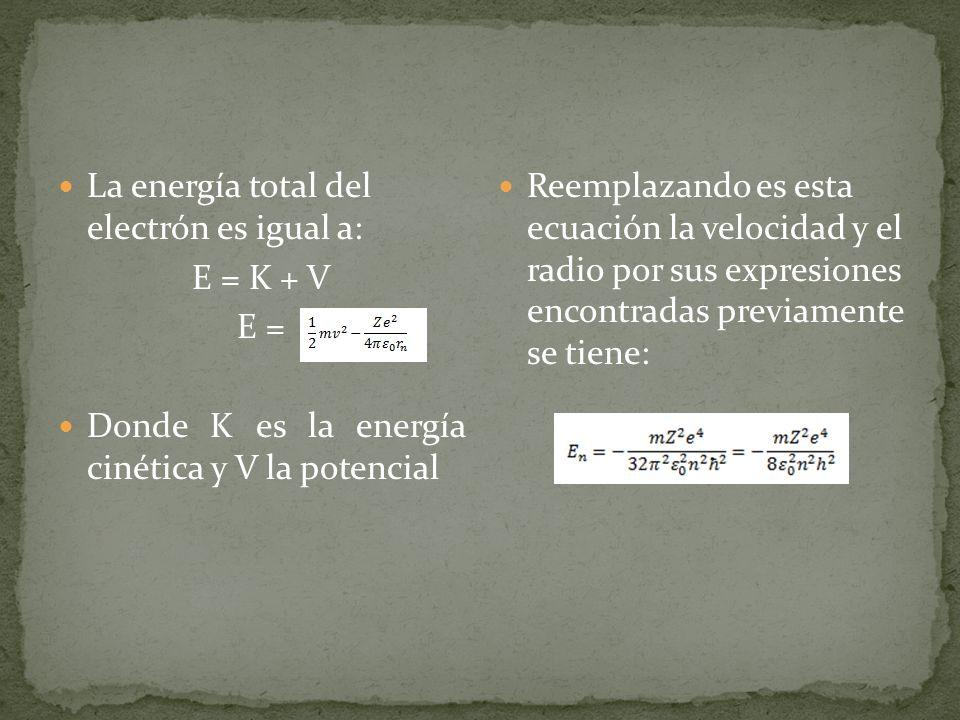 La energía total del electrón es igual a: