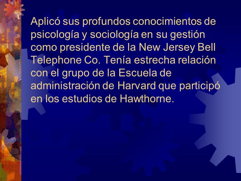Aplicó sus profundos conocimientos de psicología y sociología en su gestión como presidente de la New Jersey Bell Telephone Co.
