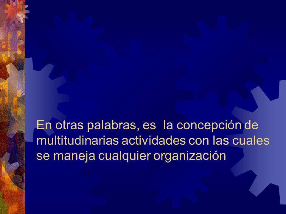 En otras palabras, es la concepción de multitudinarias actividades con las cuales se maneja cualquier organización