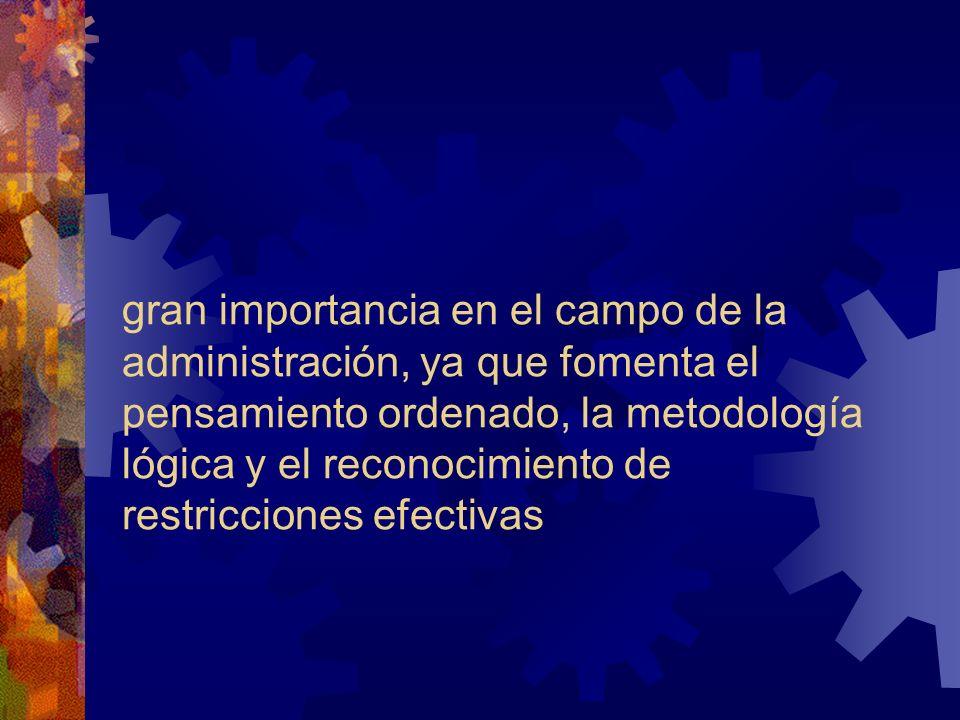 gran importancia en el campo de la administración, ya que fomenta el pensamiento ordenado, la metodología lógica y el reconocimiento de restricciones efectivas