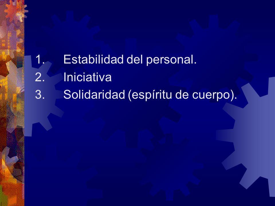 1. Estabilidad del personal.