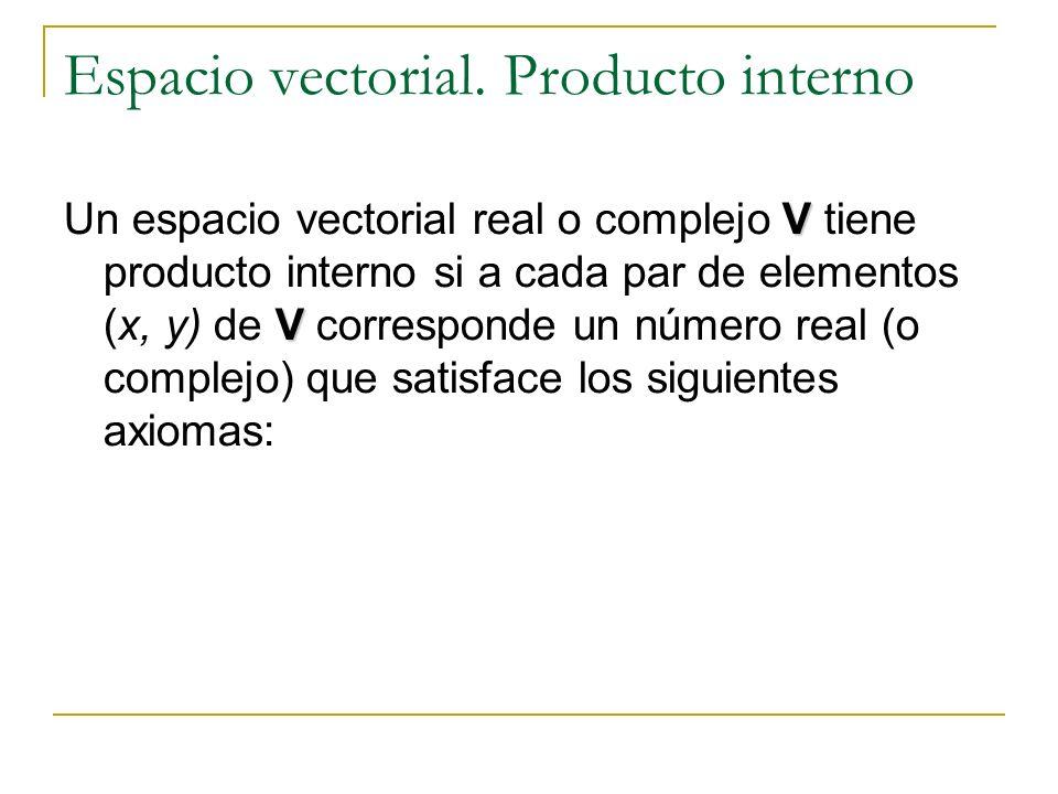 Espacio vectorial. Producto interno