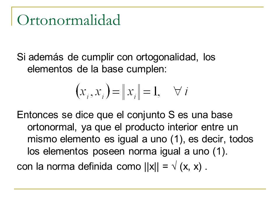 Ortonormalidad Si además de cumplir con ortogonalidad, los elementos de la base cumplen: