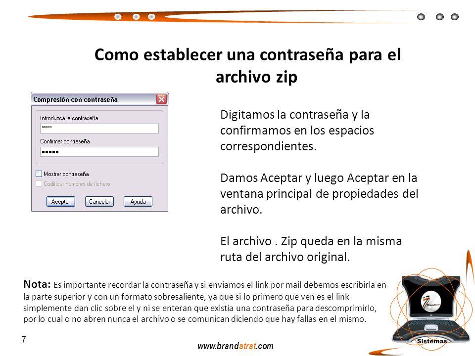Como establecer una contraseña para el archivo zip