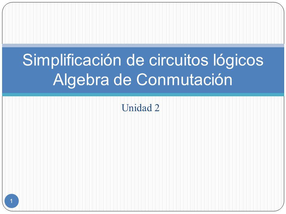 Simplificación de circuitos lógicos Algebra de Conmutación
