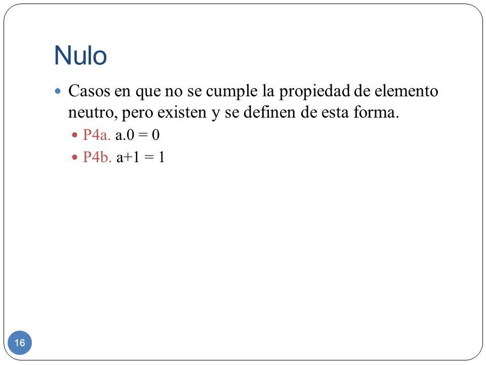 Nulo Casos en que no se cumple la propiedad de elemento neutro, pero existen y se definen de esta forma.