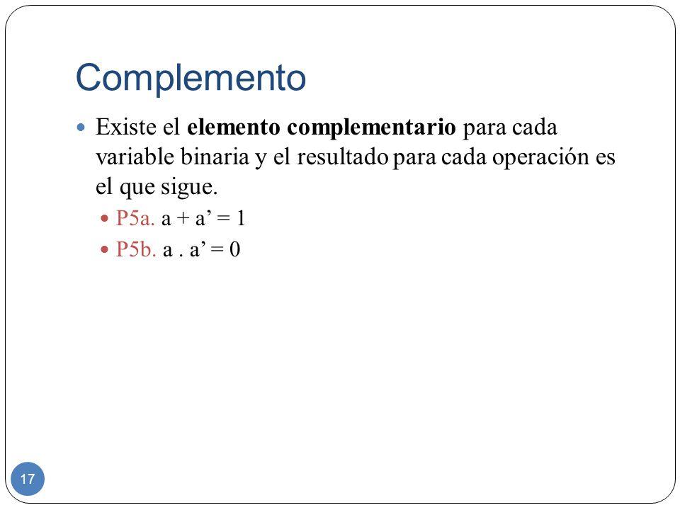 Complemento Existe el elemento complementario para cada variable binaria y el resultado para cada operación es el que sigue.