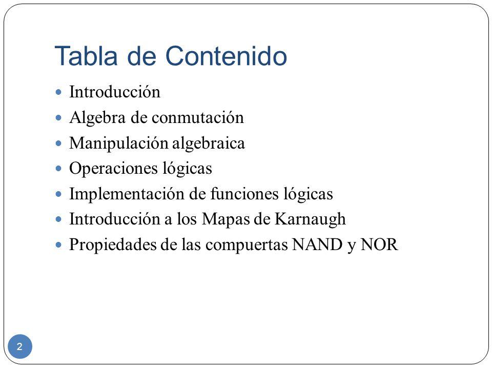 Tabla de Contenido Introducción Algebra de conmutación