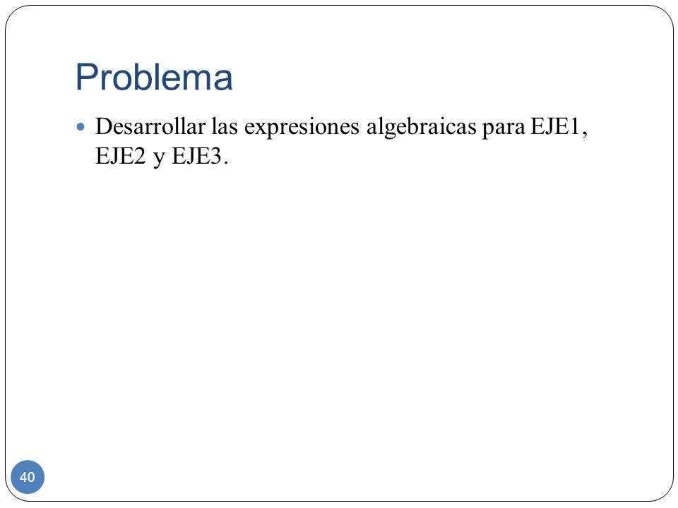 Problema Desarrollar las expresiones algebraicas para EJE1, EJE2 y EJE3.