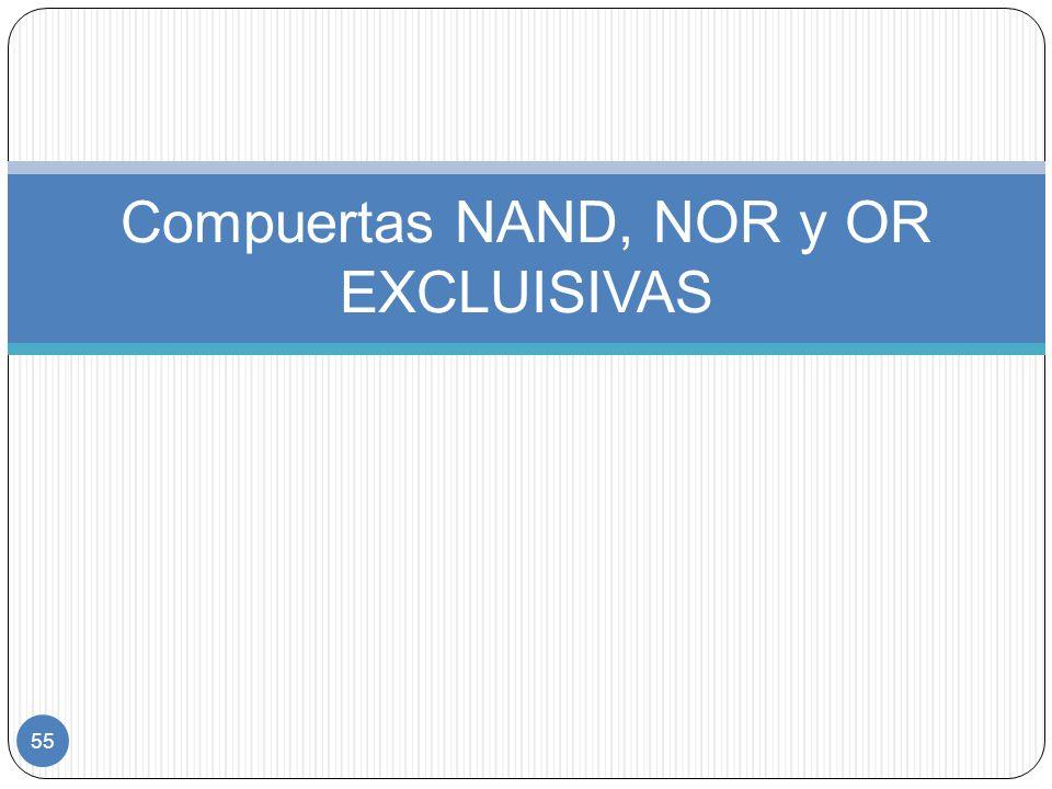 Compuertas NAND, NOR y OR EXCLUISIVAS