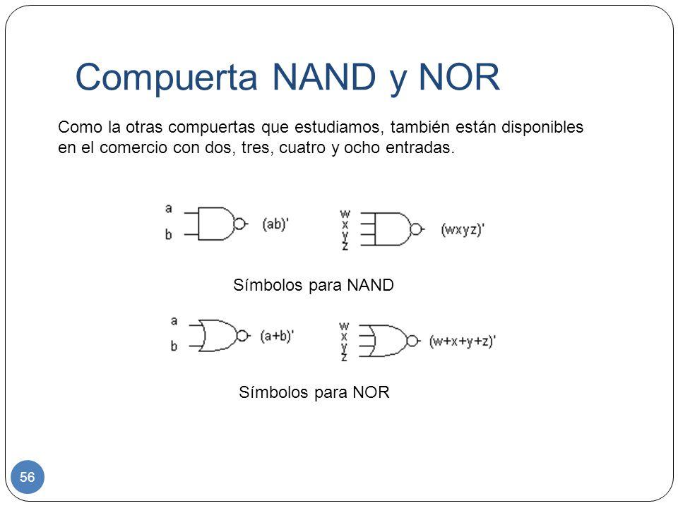 Compuerta NAND y NOR Como la otras compuertas que estudiamos, también están disponibles en el comercio con dos, tres, cuatro y ocho entradas.