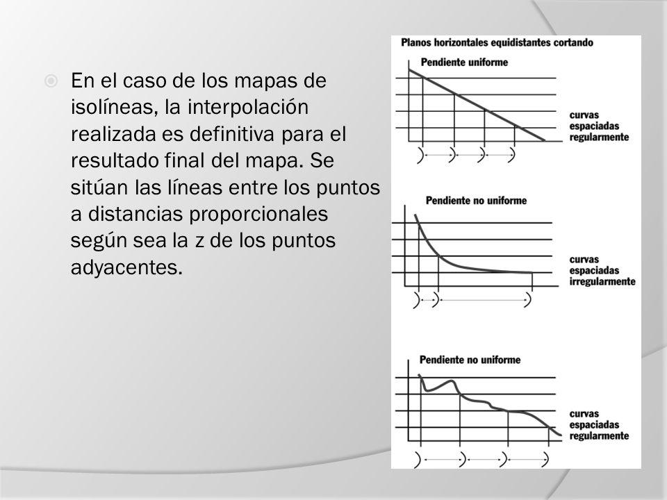 En el caso de los mapas de isolíneas, la interpolación realizada es definitiva para el resultado final del mapa.