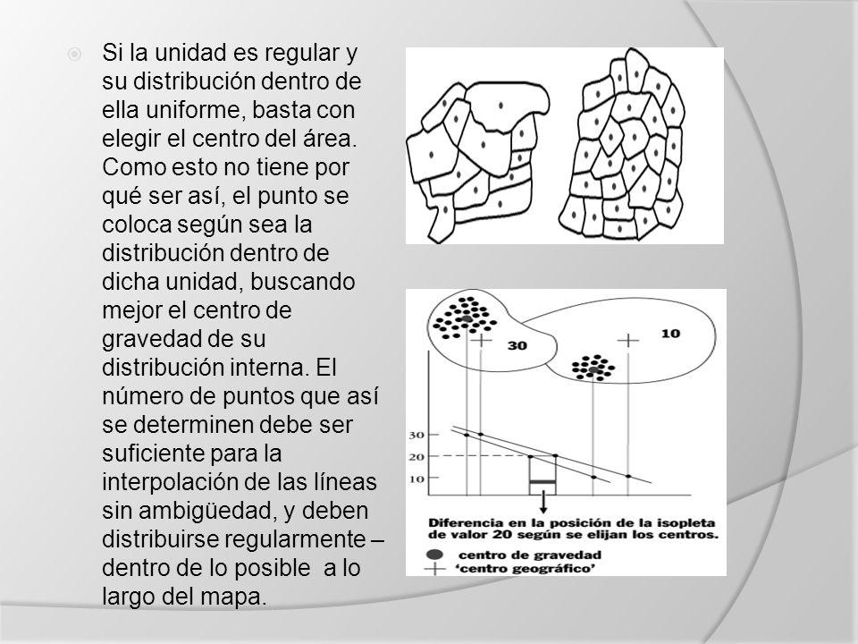 Si la unidad es regular y su distribución dentro de ella uniforme, basta con elegir el centro del área.