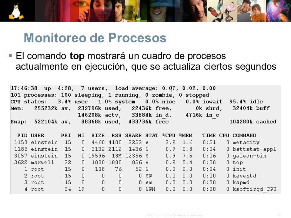 Monitoreo de Procesos El comando top mostrará un cuadro de procesos actualmente en ejecución, que se actualiza ciertos segundos.