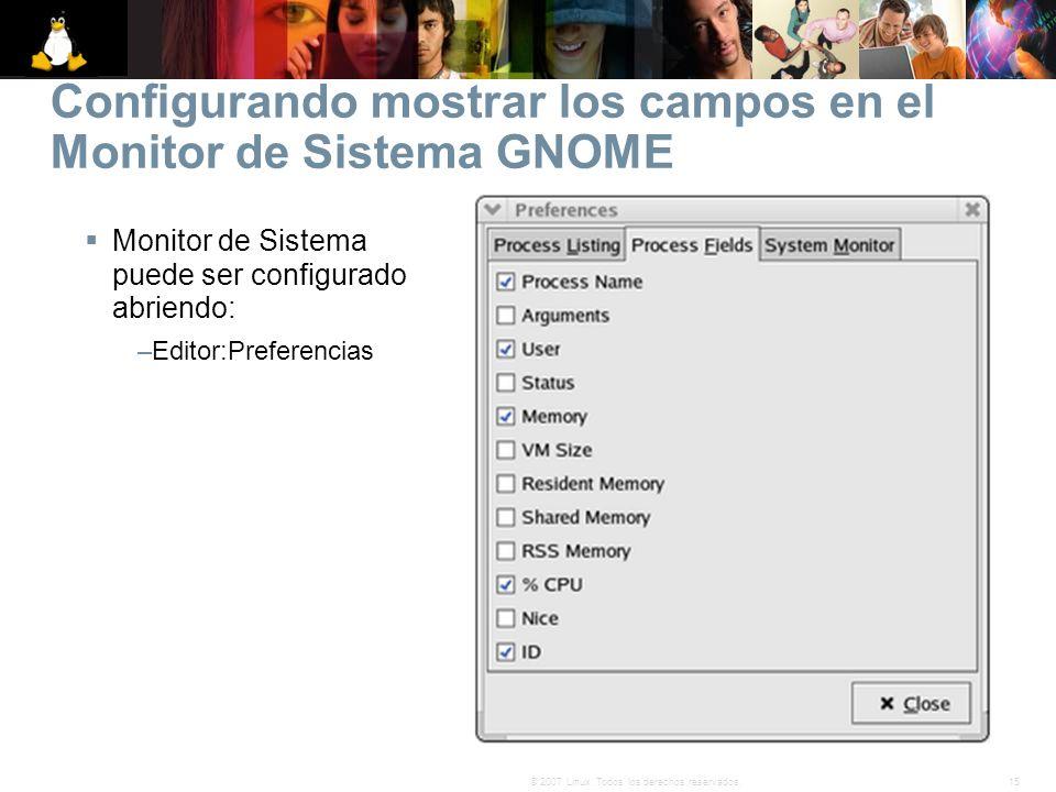 Configurando mostrar los campos en el Monitor de Sistema GNOME