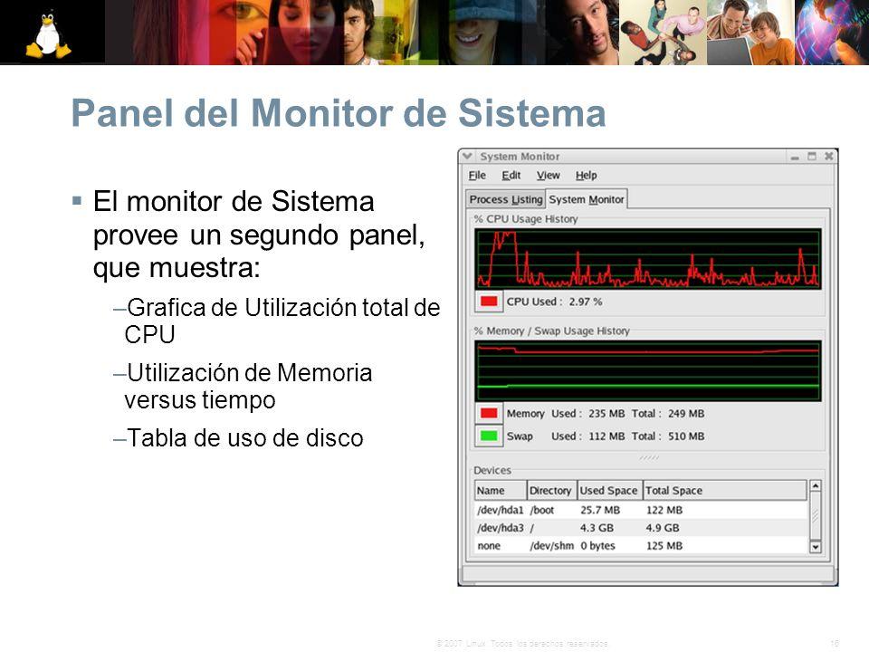 Panel del Monitor de Sistema